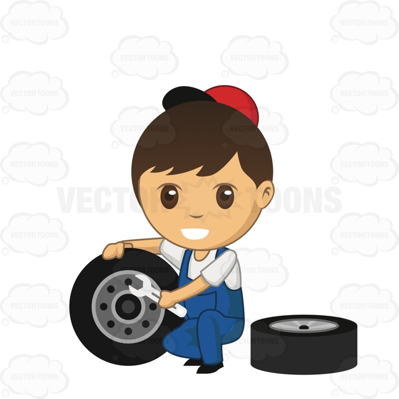 Male Auto Mechanic Holding A Wrench To A Tire