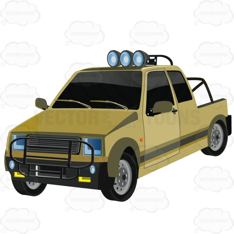 Off Road Style Truck With Three Headlamps On The Top