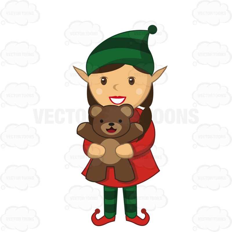 Female Elf Holding A Teddy Bear With A Smile On Her Face