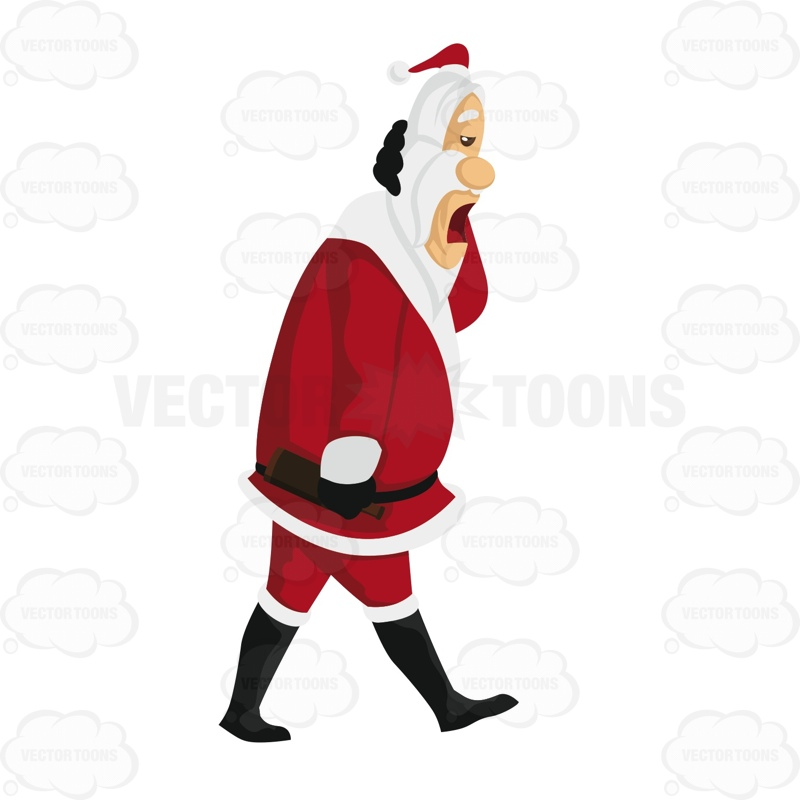 Santa Is Walking With One Hand On The Back Of His Hand And The Other Carrying A Beer Bottle
