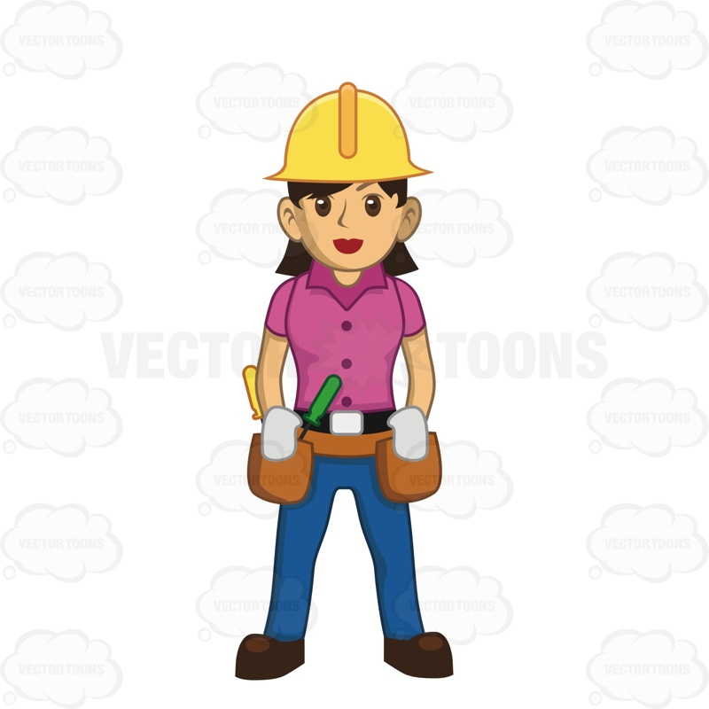 Female Construction Worker With Hard Hat And Tool Belt