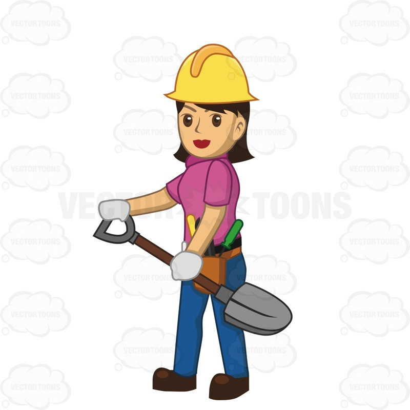 Female Construction Worker Holding A Shovel     Vector Graphics