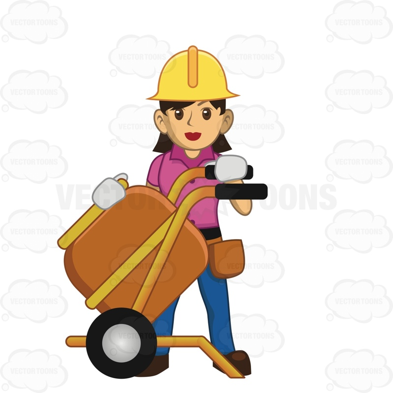 Female Construction Worker Using A Large Machine On Work Site