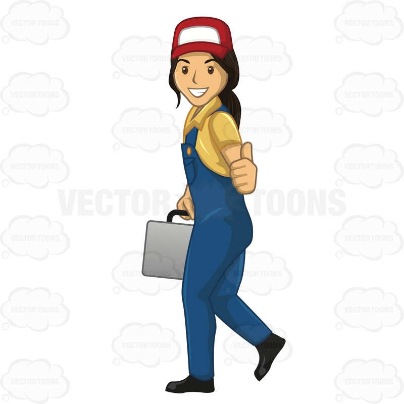 Female Plumber Giving The Thumbs Up While Walking