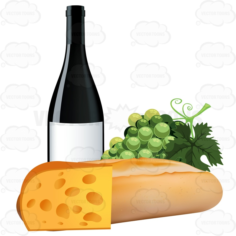 French bread with grapes a bottle of wine and swiss cheese for Cuisine wine