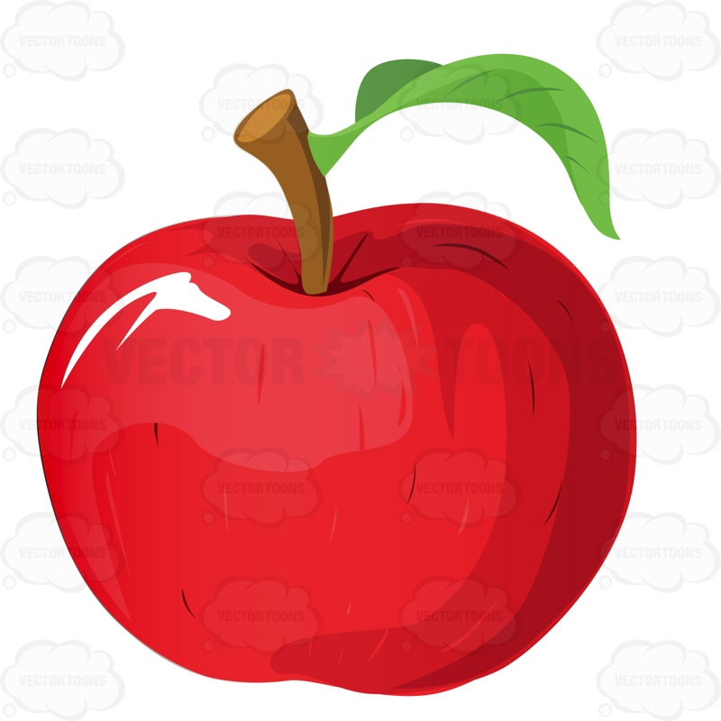Red delicious apple with stem and leaf stock cartoon graphics