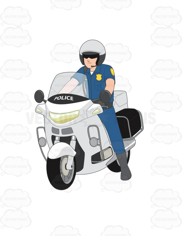 Male Police Officer On A Motorcycle