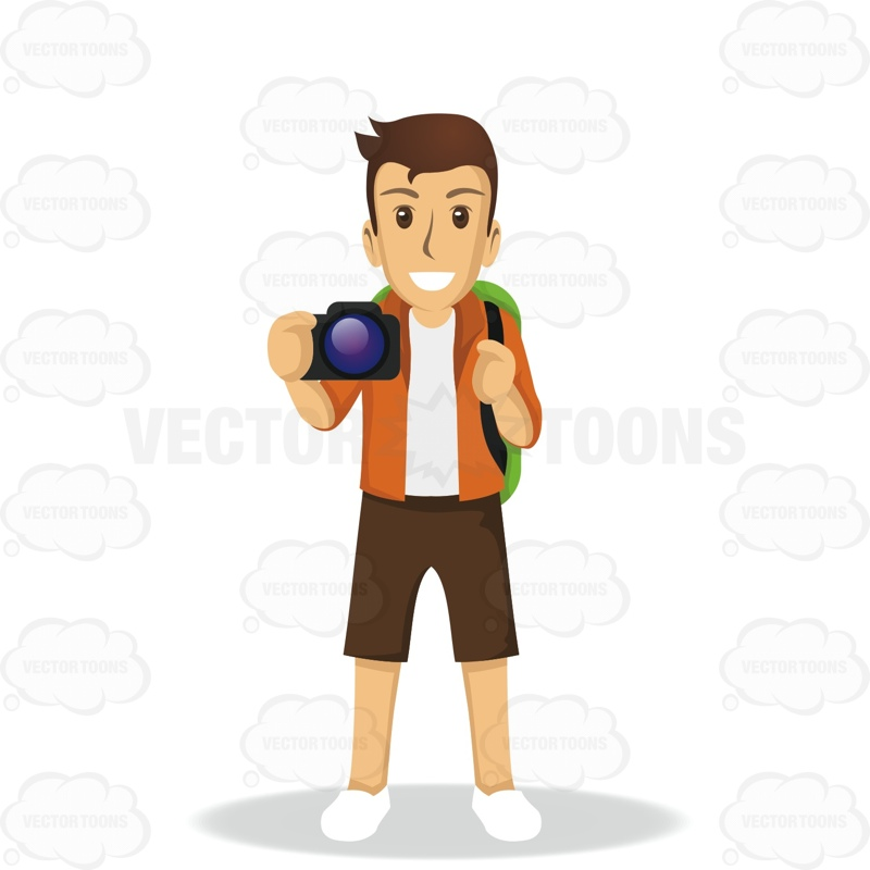Male Tourist Holding A Camera While Wearing A Backpack