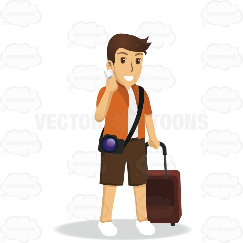 Man Pulling Luggage While Talking On The Phone