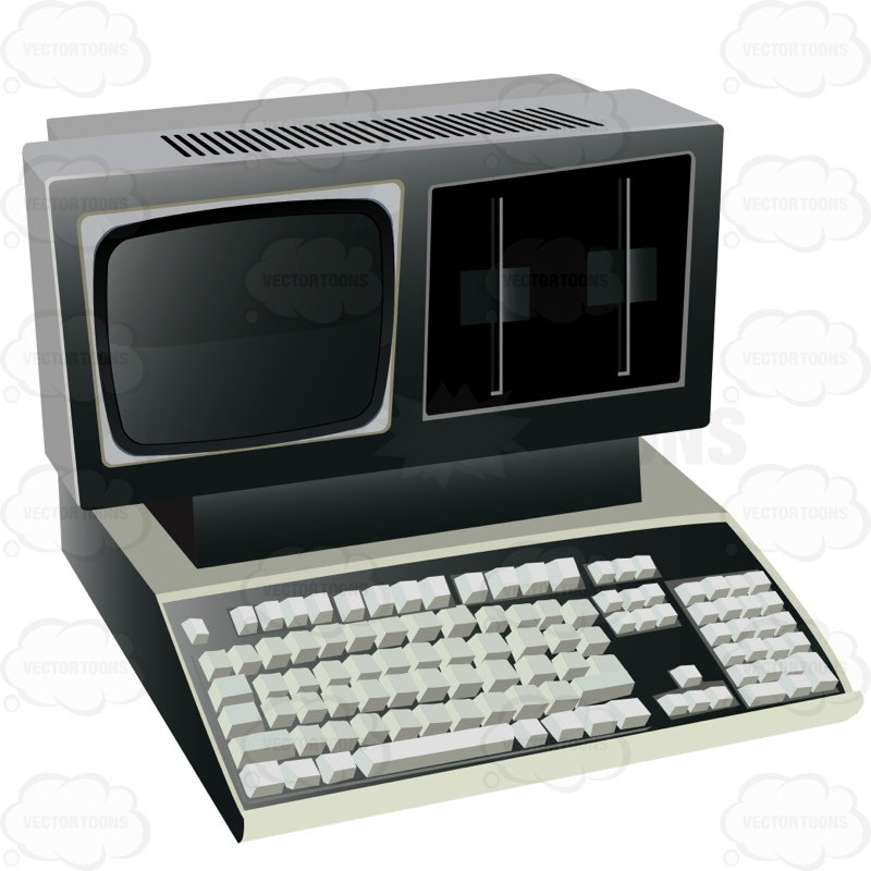 Very Old Original Computer With Small Screen