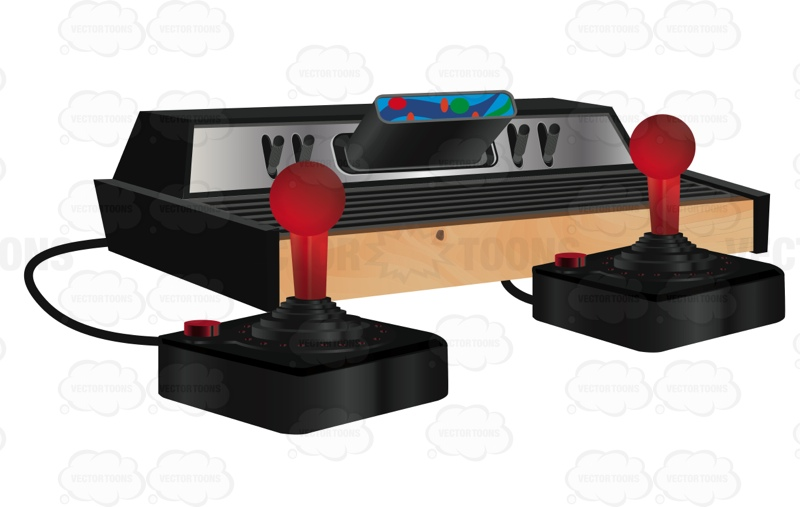 Vintage Atari Style Video Game With Two Red Joysticks