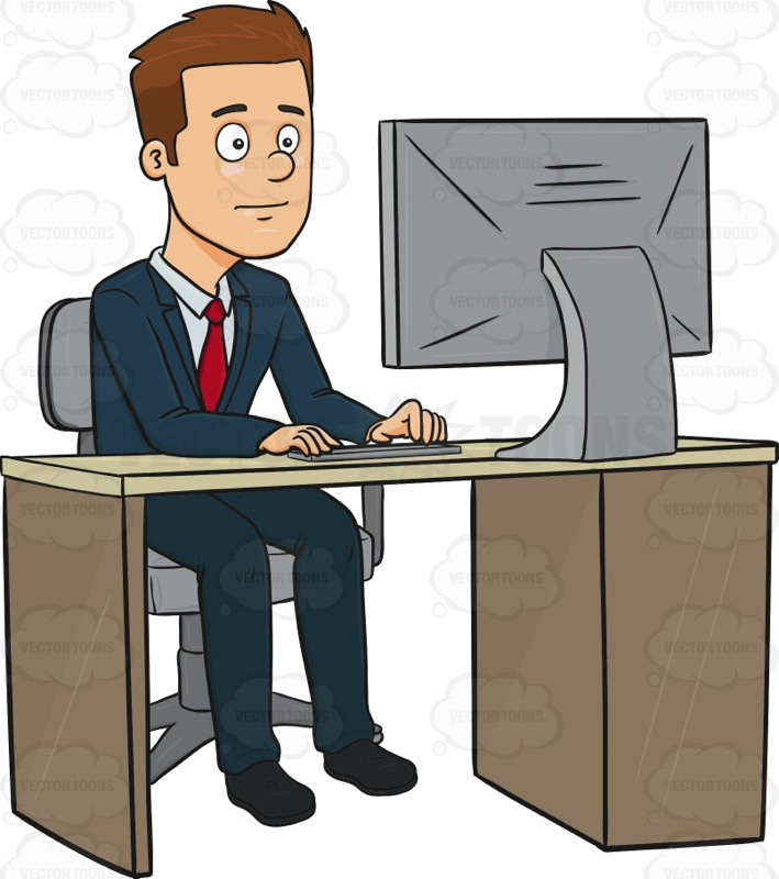 Businessman Working At A Computer
