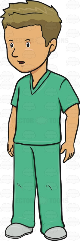 Man In Medical Scrubs Paying Attention
