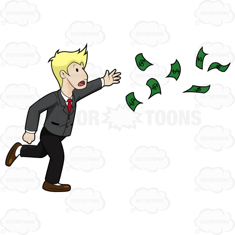 Shouting Guy Running Off To Chase His Cash