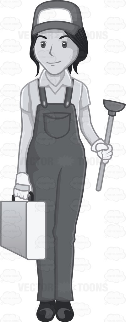 Female Plumber Holding A Rubber Suction And Tool Kit