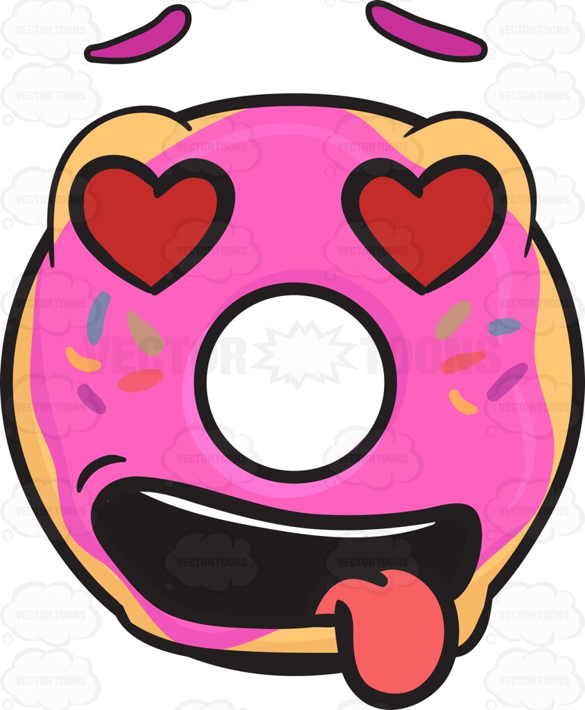 Cartoon Doughnut Factory: Love Struck Donut Emoji • Vector Graphics • VectorToons.com