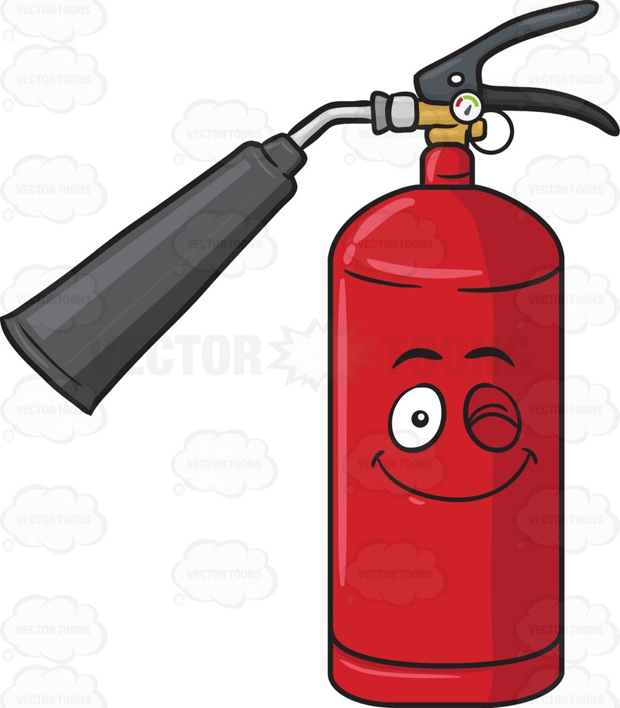 Smiling And Winking Fire Extinguisher Emoji