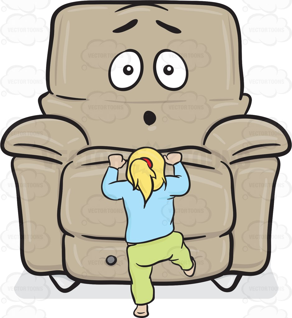 Stuffed Chair Dumbfounded By A Toddler Climbing Onto The