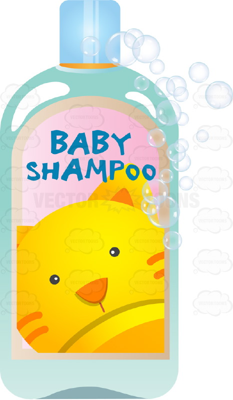Blue Baby Shampoo Bottle With Picture Of Orange Kitty On ...