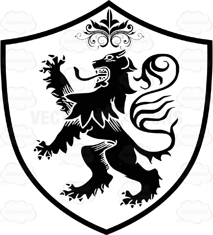 Black And White Medieval Stylized Lion Standing Up On Two ...