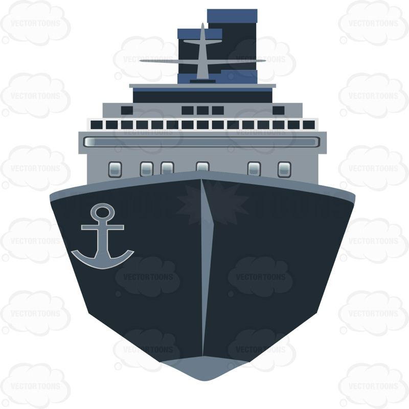 Front View Of A Cargo Ship | Stock Cartoon Graphics ...