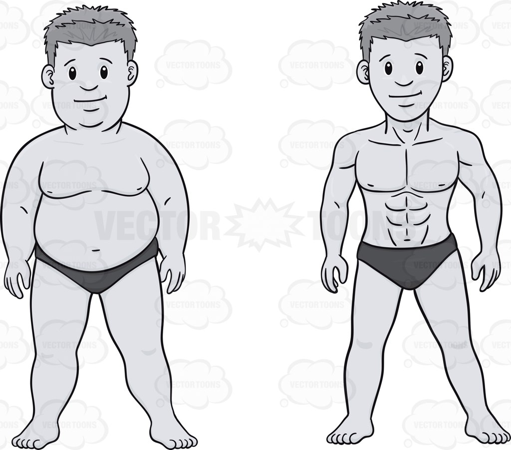 Before And After Weight Loss Look Of A Man • Vector ...